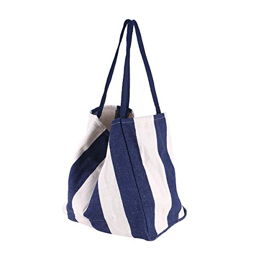 TENDYCOCO Frauen Leinwand Umhängetasche Gestreifte Tasche Hohe Kapazität Einfache Handtasche Casual Shopping Umhängetasche (Blau)