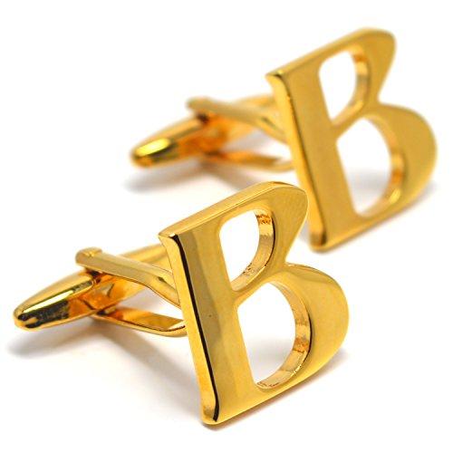 MESE London Buchstabe Name B Initiale Manschettenknöpfe 18 Karat Vergoldet in Luxus ()