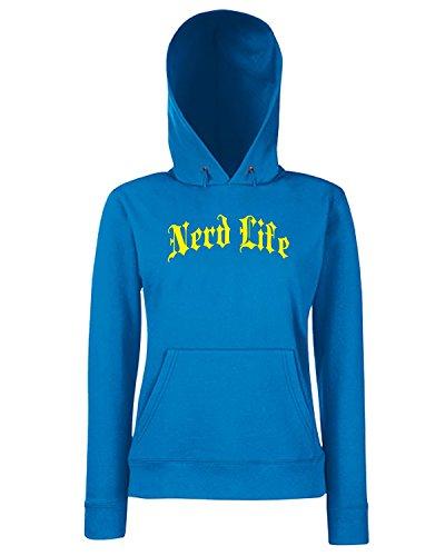 T-Shirtshock - Sweats a capuche Femme FUN0818 blanerd black Bleu Royal