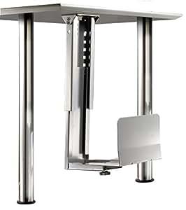 ROLINE Platzsparender PC-Halter mit stabiler Stahlkonstrunktion in silber