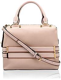 tresmode Women's Textured with Gold Detailing Satchel Handbags