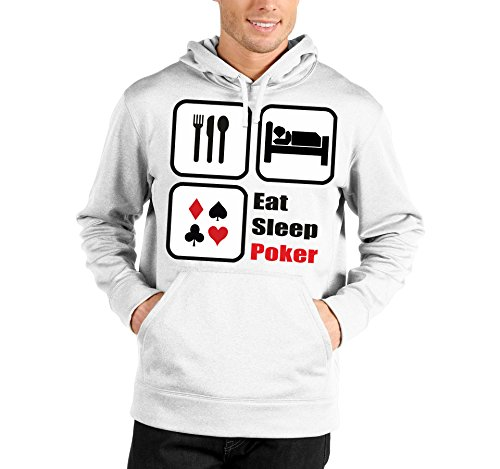 Felpa con cappuccio Eat sleep poker - humor - poker - in cotone Bianco