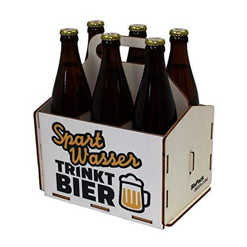 Bierträger aus Holz - Sixpack - 6er Träger - Sechserträger - Geschenk Männer, Bier, Grillzubehör, Geburtstagsgeschenk für Männer, Grillparty, Bier-Geschenk