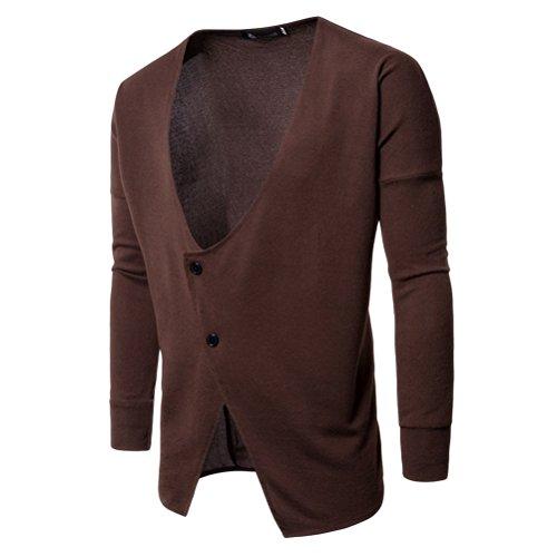 Zhhlinyuan Mens Mans Boys Slim Fit Long Sleeve V Neck 2 Button Up Knitwear Strickwaren Jumper Knitted Cardigan Strickjacke for Christmas Gifts (Cardigan Button-up V-neck)