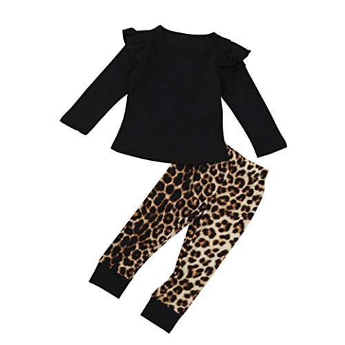 Hirolan Neugeboren Säugling Baby Mädchen Leopard Lange Hülse Tops + Hosen Outfits Kleider Set (100cm, Schwarz)