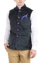 Skoosh Mens Velvet Nehru Jacket (2181WT27AUGBE--XXL, Blue, XX-Large)