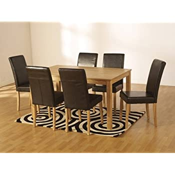 Dining Table And Leather Chair Set Kitchen Furniture