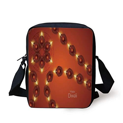 Diwali,Paisley Design Tribal Festive Celebration Image with Candle Work of Art Decorative,Dark Orange Yellow Print Kids Crossbody Messenger Bag Purse (Coach Laptop Bag 13)
