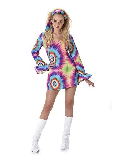 Tie Dye Hippie Ladies Fancy Dress Peace 60s 70s Hippy Womens Adults Costume
