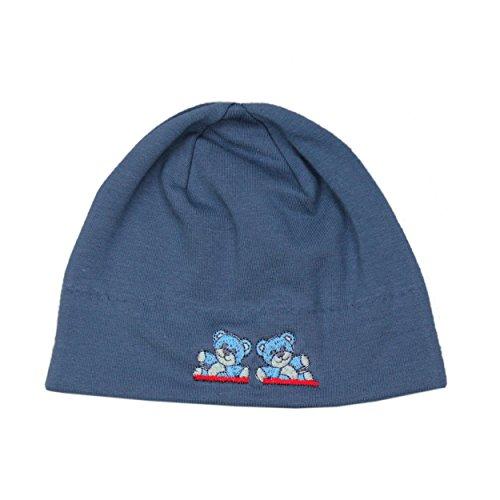 Baby Mütze Jungen Topfmütze Jersey mit Bärchenmotiv Leichte Erstlingsmütze Baumwollmütze Frühling/Herbst, Farbe: Jeans, Größe: 0 - 6 Monate