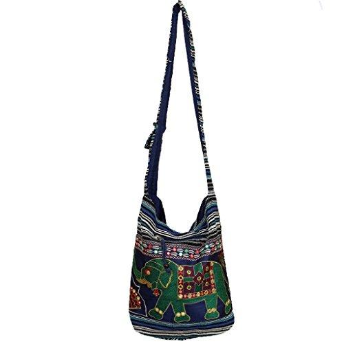 Dark Blue Elephant Hippie Bag