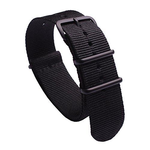 Schwarz Seat Belt gesponnenes Nylon Premium Qualität NATO Uhrenarmband 24mm Premium-Uhrenarmband-Ersatz