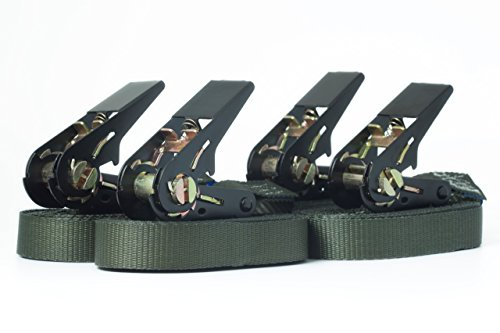 4x Spanngurte 6m grün im Set (Zurrgurte/Ratschengurte), Gurtbreite 25mm, LC 800 daN, einteilige Gurte mit Ratsche, gefertigt nach DIN EN 12195-2 Norm