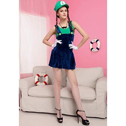 HaoLiao Cosplay Kostüm, Frauen Halloween-Kostüm Cosplay Sexy Super Mario cos Stage Performance Uniform mit Einem einzigartigen Original-Ring FXXK ()