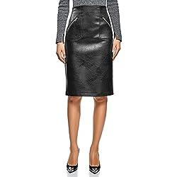 oodji Ultra Mujer Falda Midi de Piel Sintética, Negro, ES 38 / S