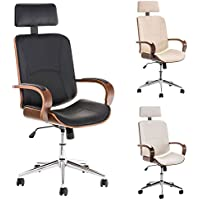 CLP Sedia da ufficio di qualità DAYTON, sedia da ufficio con seduta in legno e fodera in similpelle, altezza seduta 45 - 52 cm, colori a scelta nero