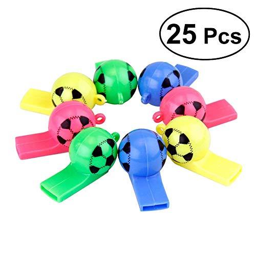 Wuudi Farbe zufällige Farbauswahl aus Kunststoff, Schiedsrichterpfeife, Fans Cheer Requisiten, Erwachsene, Kinder, Party-Zubehör für Erwachsene, 25 Stück