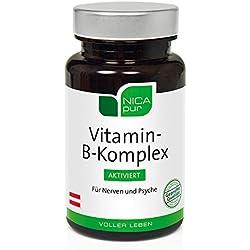 NICApur Vitamin B Komplex aktiviert, 8 B-Vitamine hochdosiert, Vitamin B6 als P5P, Vitamin B2 als Riboflavin-5-Phosphat, Folsäure als (6S)-5-MTHF und Vitamin B12 als Methylcobalamin, 60 Kapseln