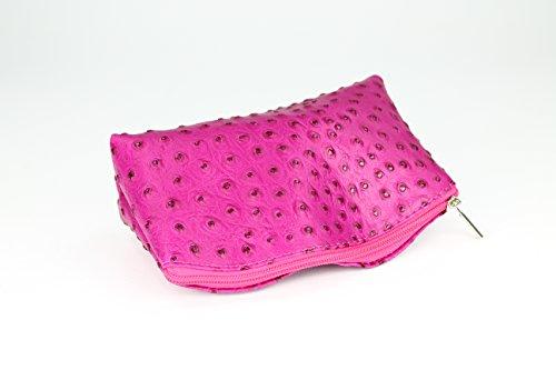 1c029429056e9 BELLI Bellini kleine Leder Kosmetiktasche Make Up Tasche Farbauswahl  18x13x5 cm B x H x T Pink strauss