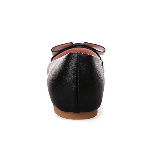 AllhqFashion Femme Matière Souple Pointu Non Talon Tire Couleur Unie Chaussures à Plat Noir