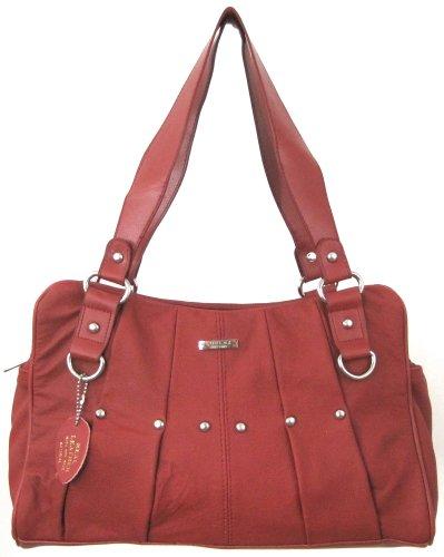 Damen Leder Umhängetaschen / Handtasche mit Plissierte Design ( Dunkel Tan / Braun / Schwarz / Rot ) Rot
