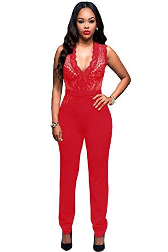 Rote Spandex Bodysuit (Neue Damen Rot V-Ausschnitt Jumpsuit Catsuit Spielanzug Bodysuit Club Wear Party Sommer tragen Größe M UK 10–12EU)