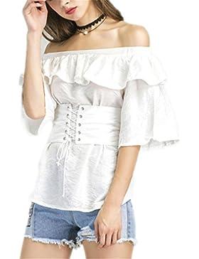dangyin Off Shoulder Top Mujer Moda Lace Up Cummerbund Cinturón Blanco Blusa Camisa Elegante Half Sleeve Ruffle...