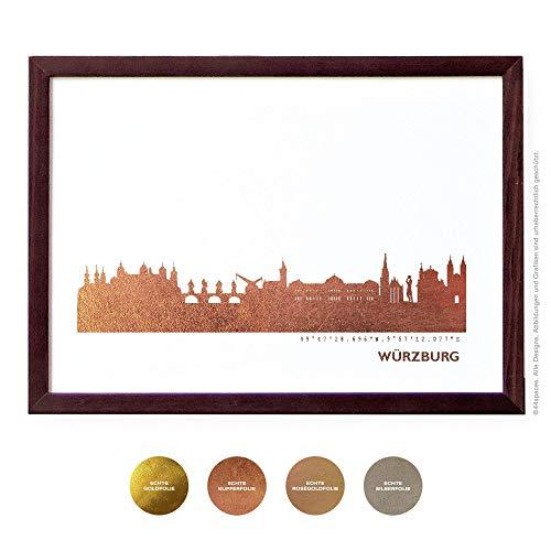 Design Kunstdruck Würzburg Wandbild Poster, 4 Metallic Farben DIN A4 A3 Geschenk-Idee Jahrestag Hochzeit Erinnerung -