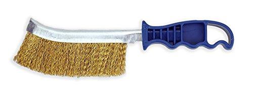 Preisvergleich Produktbild Stahlbürste Messingfarben mit Kunststoffgriff Drahtbürste ca. 24 cm