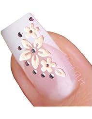 Fleur blanche et papillon adhésifs autocollants pour nail art avec strass argent