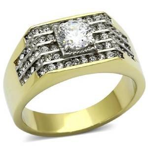 Cut Princess Gold Herren-ring White (YourJewelleryBox Herren Zirkonia Ring TK737PB Gr. 68 (21.6))