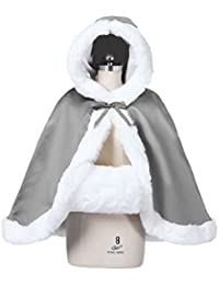 BEAUTELICATE Capa con Capucha Mujer Invierno Pelo Corto Poncho para Vestido de Novia Boda Fiesta Navidad