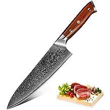 XINZUO Cuchillo de Cocina 20cm de Acero Damasco Japonés 67 Capas Profesional  Gyuto Gyoto Cuchillo de 2611fe60f38d