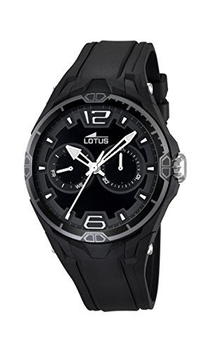 Lotus Men's Quartz Watch with Black Dial Analogue Display and Black Rubber Strap 18184/6