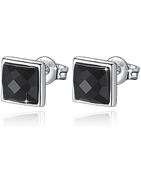 Fashmond Quadrat Schwarz Ohrstecker aus echte 925 Sterling Silber - Ohrringe für Herren Damen Kinder Mädchen Hochzeit...