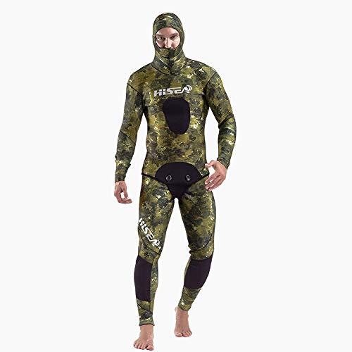 Minikuza Camo Neopren 2-Pieces Kapuzen Herren Neoprenanzug, 7mm Lock Wasser halten warm UV-Schutz Lange Ärmel Männer Tauchen Haut Anzug - zum Schwimmen/Scuba Tauchen/Schnorcheln/Surfen,XXL