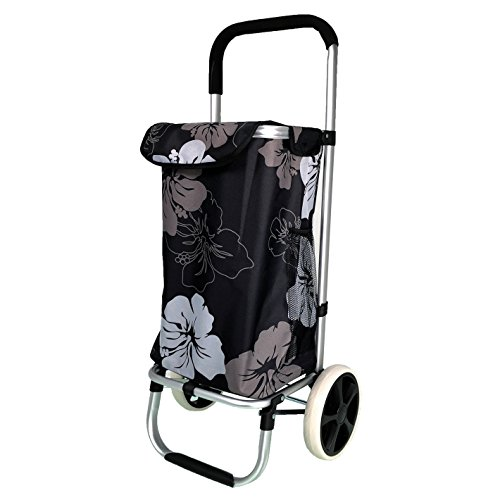 QTC ALU Einkaufstrolley Korb Trolley klappbar Einkaufstasche Einkaufswagen Shopping Trolley(Blumen)