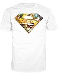 Superman DC Comics Logo Mural Official Men's T-Shirt (White)