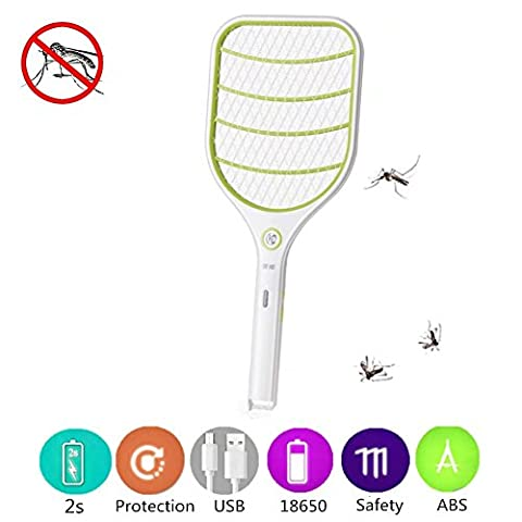 Bug Zapper Electric Swatter Insect Killer Zapper PLUIESOLEIL USB Rechargeable With LED Lighting