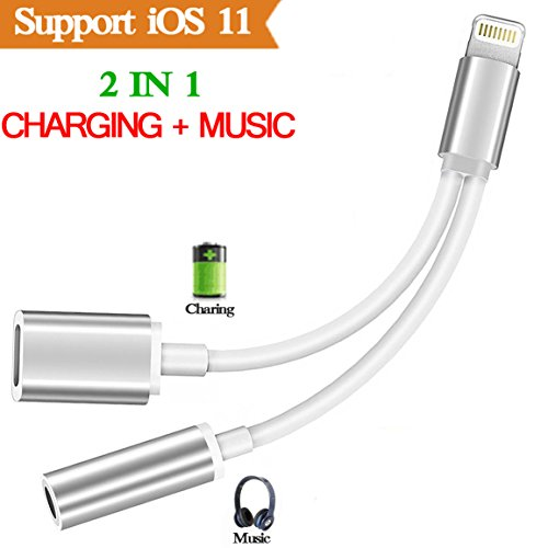 Preisvergleich Produktbild 2 in 1 Lightning Kopfhörer Jack Adapter für iPhone X, iPhone 8/ 8 Plus.iPhone 7 / 7 Plus 6/6 Plus. Lightning auf AUX Audio 3.5mm Headphone Jack Adapter + Charging Port Adaptor Kompatibel mit iOS 10.3/11(Silber)