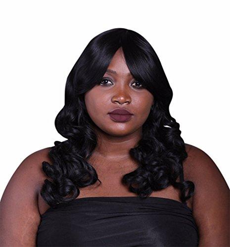 A.Monamour Femmes Longues Ondulées Bouclés Noir Foncé Synthétique Cheveux Résistant À La Chaleur Pleine Perruque
