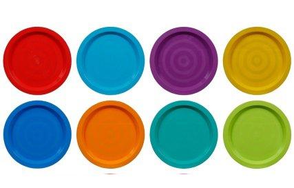 Fingey Kunststoffschüssel, -becher, -teller, für Garten und Picknick, mikrowellengeeignet, in verschiedenen Farben, 8 Stück, plastik, Plates