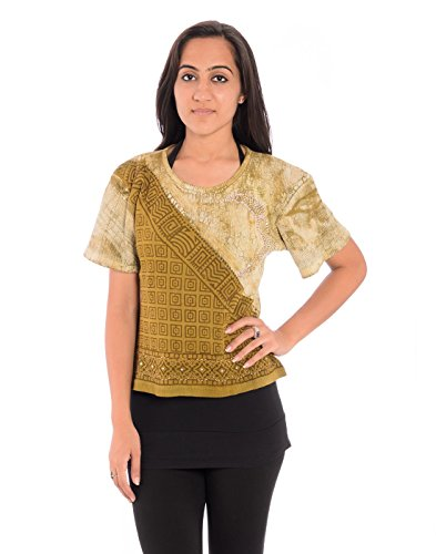 Indi Bargain Casual Short Sleeve Self Design Women's Green Top  available at amazon for Rs.149