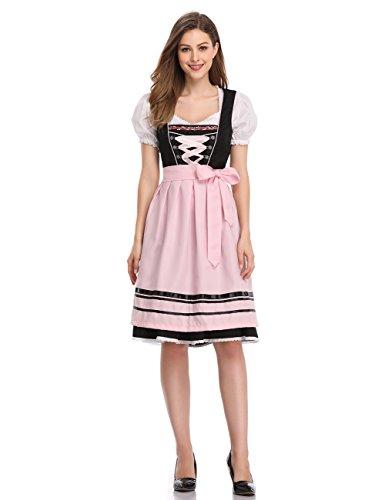 Lace Trim Mädchen Kurze (LanLan Trachten Damen Dirndl Set Oktoberfest, Karneval Party Dirndl Dreiteilige Kleid Anzug Plissee Lace Trim Nähen Kurzarm Kleider Farbe: Schwarz mit Rosa Größe: 40)