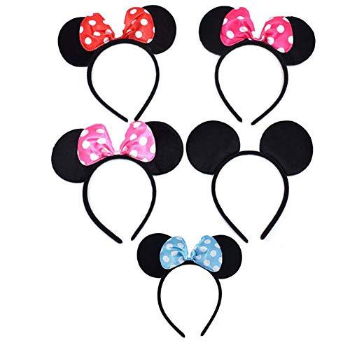 DZH Enjoy 5 Stücke Maus Ohren Stirnbänder Bogen Haarband Schwarz Rot Rosa Rose Rot und Blau Kopfbedeckungen für Mädchen Frauen Jungen - Familie Mickey Mouse Kostüm