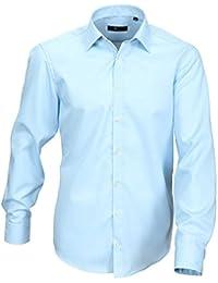 Venti Hemd Hellblau Uni 69er Extralanger Arm Slim Fit Tailliert Kentkragen 100% Feinste Baumwolle Bügelfrei