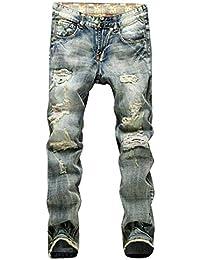67014ef919 Pantalones Vaqueros De Los Hombres Destruidos De Slim Fit Pantalones  Rodilla Vestir Vintage Ajustados Delgados Rasgados