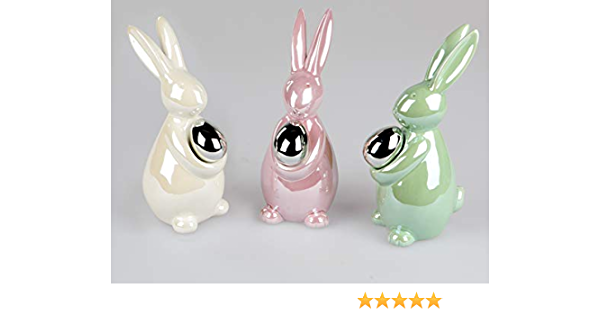 Osterdeko ca 20 cm hoch Keramik Hase cremeweiß hochglänzend perlmut