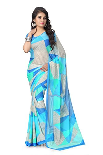Vaamsi Women's Chiffon Saree With Blouse Piece(Rolex3101_Blue)
