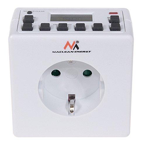 Maclean MCE30G Digitale Zeitschaltuhr Steckdose Wochenzeitschaltuhr 7 Tage Schalter Timer 16A 3600 Watt 10 Programme